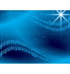 Abstract blue music background with star vector