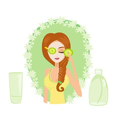 Cute woman applying moisturizer vector