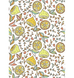 Seamless hand-draw pattern with lemon and flowers vector