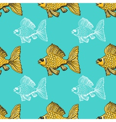 Seamless background with goldfish vector