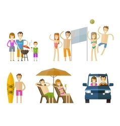 People on vacation icons set travel journey vector