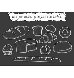 Set 10 bread baking doodle drawn in chalk sketch vector