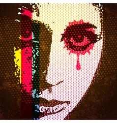 60s style digital pop art portrait young female vector