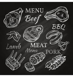 Retro meat menu icons on chalkboard vector