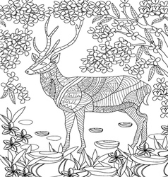 hand drawn animal coloring page vector image