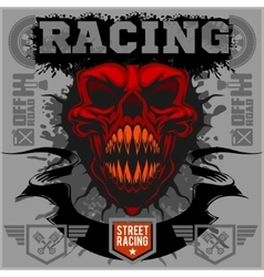 Motor racing demon - emblem for t-shirt vector