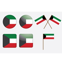 badges with flag of Kuwait vector image vector image