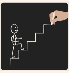 business success climbing stairs drawing in chalk vector image vector image