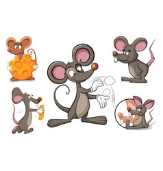 cartoon character mouse and cheese vector image