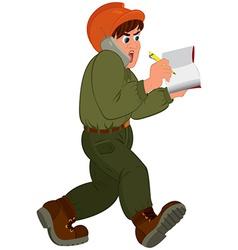 Cartoon man in hard hat talking on the phone vector
