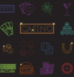 Casino and gambling line icons set with slot vector image