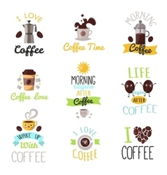 Coffee time drinks badges vector