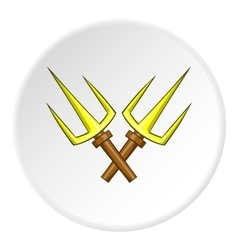 Crossed tridents icon cartoon style vector