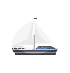 Cruise yacht side view isolated icon vector