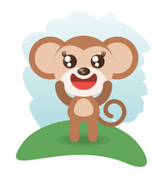 Cute monkey animal wildlife vector