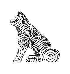 drawing zentangle for sitting dog adult coloring vector image