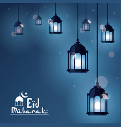 Eid mubarak greeting with beautiful illuminated vector