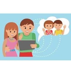 Family flat style social media vector