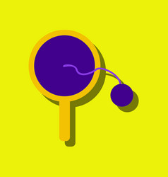 Flat icon design kids racket and ball in sticker vector
