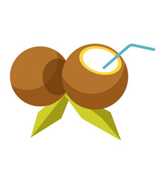 Fresh cocktail inside coconut with straw isolated vector