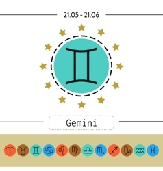 Gemini Signs of zodiac flat linear icons for vector image