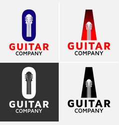 guitar logo vector image vector image
