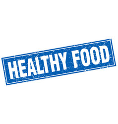 Healthy food blue square grunge stamp on white vector
