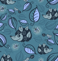 Hedgehogs in the night forest vector image