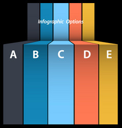 Multicolour blank paper info graphic on black vector