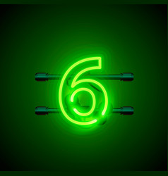 neon city font sign number 6 signboard six vector image