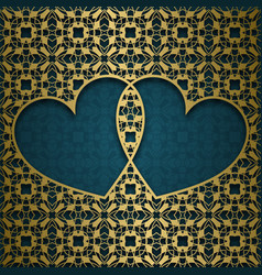 ornamental background with frame of two hearts vector image vector image