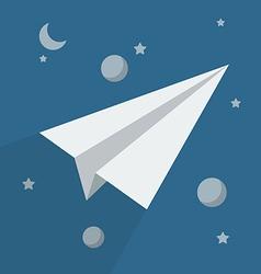 Paper rocket in space vector