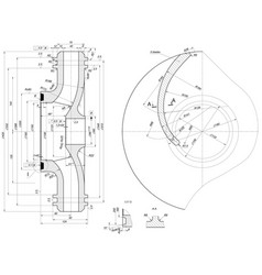 Part wheel of engineering sketch vector