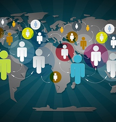 People in Circles on World Map - Social Media vector image vector image