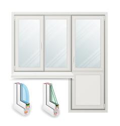 Plastic window opened door home white vector