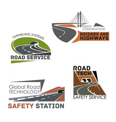 road construction and service icons vector image