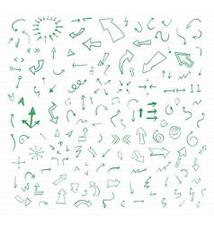 Set of green hand drawn arrows vector