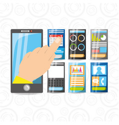 Smartphone in the hand with different electronic vector