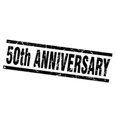 Square grunge black 50th anniversary stamp vector