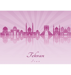 Tehrani skyline in purple radiant orchid vector