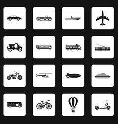 Transportation icons set squares vector