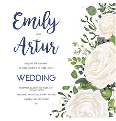 Wedding invite card design with white flowers vector