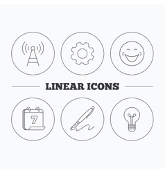 Pen telecommunication and lightbulb icons vector
