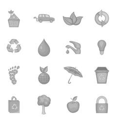 Nature icons set in black monochrome style vector image