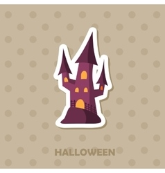 Witch castle icon halloween sticker vector