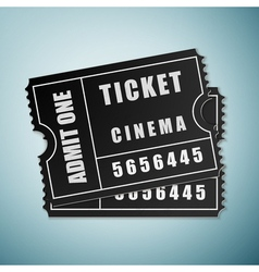 Cinema black ticket icon isolated on blue vector