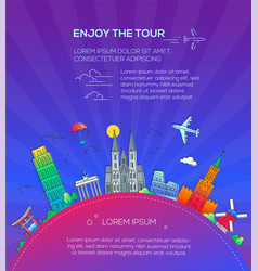 Enjoy the tour - flat design travel composition vector