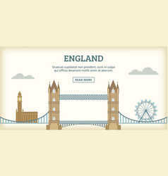 English landmarks banner horizontal cartoon style vector