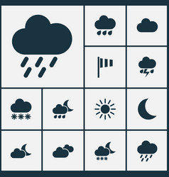 Weather icons set collection of flag snowy moon vector