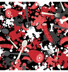 Seamless background with meat vector image